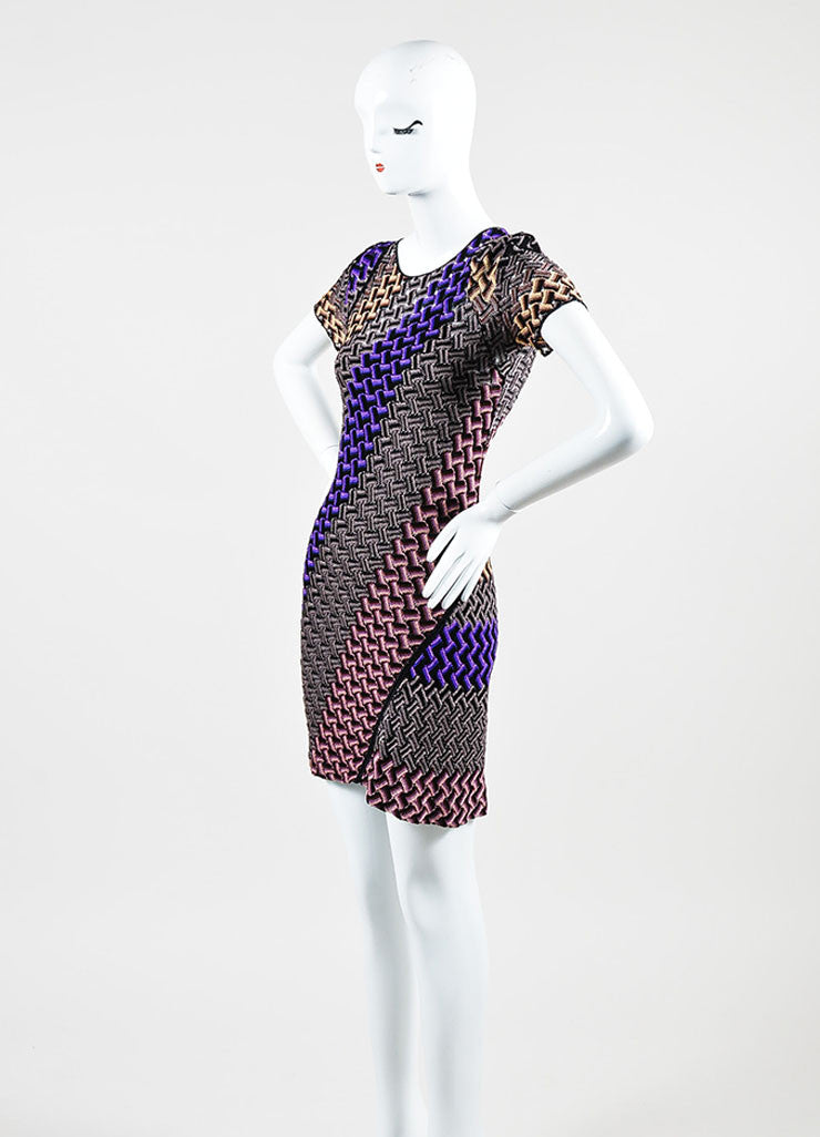 Multicolor Missoni Crochet Short Sleeve Flared T-Shirt Dress Sideview