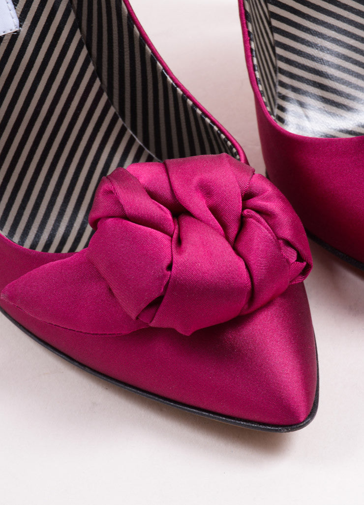 Moschino Fuchsia Pink Satin Rosette Pointed Toe Pumps Detail