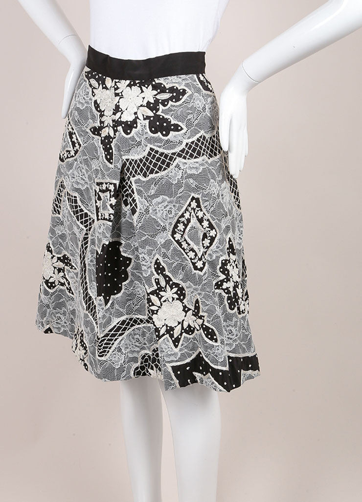 Naeem Khan Black and White Silk Lace Embroidered Floral Pleated A-Line Skirt Sideview