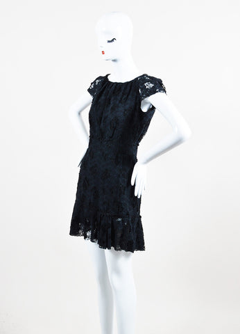 Nina Ricci Black Cotton Lace Short Sleeve Dress Sideview