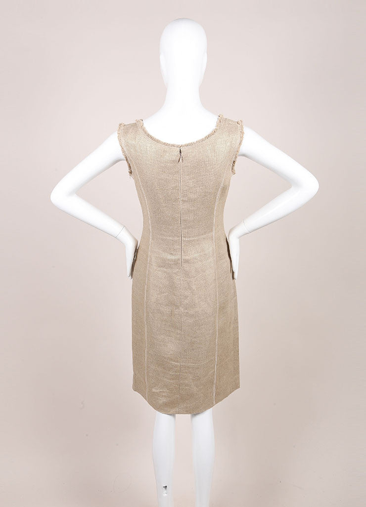 Oscar de la Renta Gold Metallic Linen and Hemp Sleeveless Sheath Dress Backview