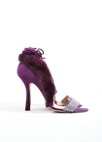 Oscar de la Renta Purple Suede Fur Trim Rhinestone Lace Up Heels