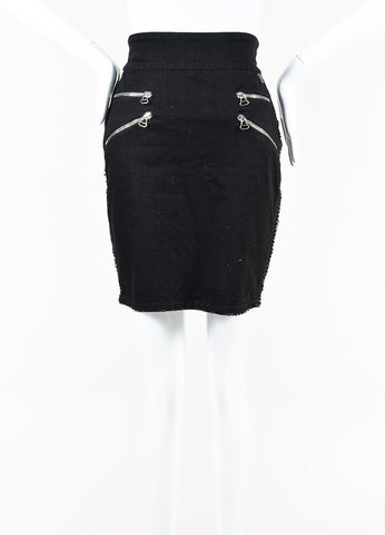 Pierre Balmain Black Denim Leather Metal Chain Trim Pencil Skirt Front