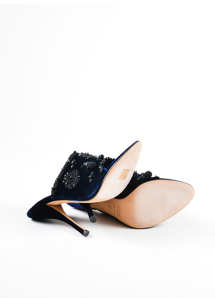 Cobalt Blue and Black Prada Velvet Beaded Embroidered Heeled Mules Outsoles