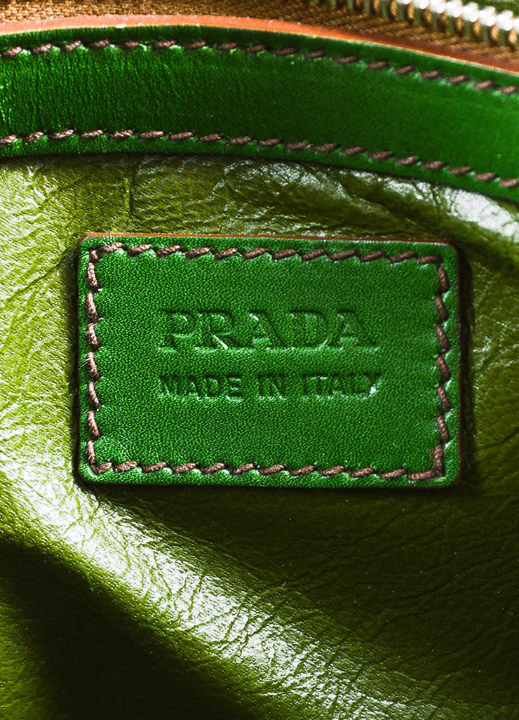 "Prada Green Genuine Crocodile ""Lucido Lock Flap"" Satchel Shoulder Bag Brand"