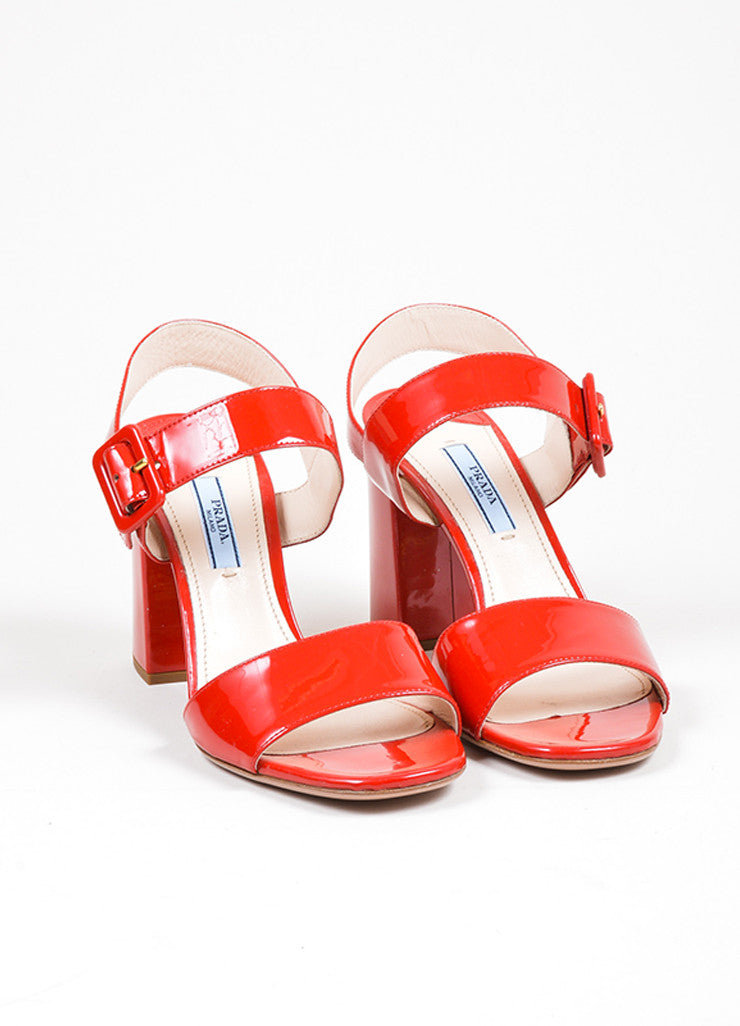 Red Prada Patent Leather Strappy Chunky Heel Sandals Frontview