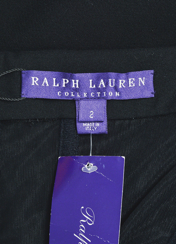 "Ralph Lauren Collection Black Wool Leather Midi ""Megan"" Dress Brand"