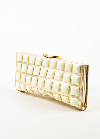 "Roger Vivier Metallic Gold and Cream Leather Studded ""Swiss Chocolate"" Clutch Bag Sideview"