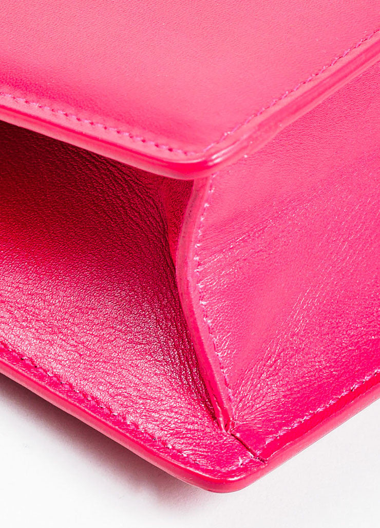 "Magenta Pink and Gold Toned Saint Laurent Leather ""Lutetia"" Box Clutch Bag Detail"