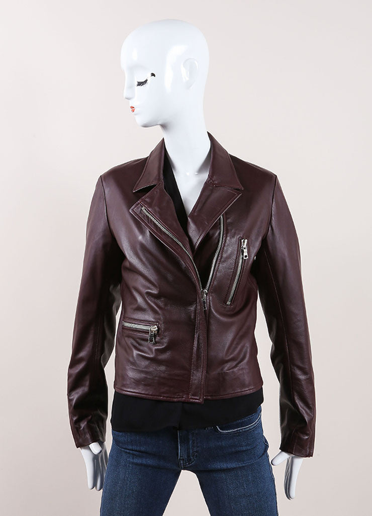 "The Perfext Wine Red Leather ""Jaime"" Moto Zip Trim Jacket Frontview"