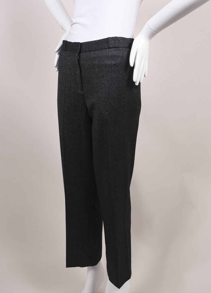 "The Row New With Tags Charcoal Grey Herringbone Wool ""Inoma"" Ankle Trousers Sideview"