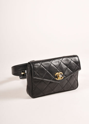 "Chanel Black and Gold Toned ""CC"" Turnlock Quilted Leather Belt Bag Sideview"