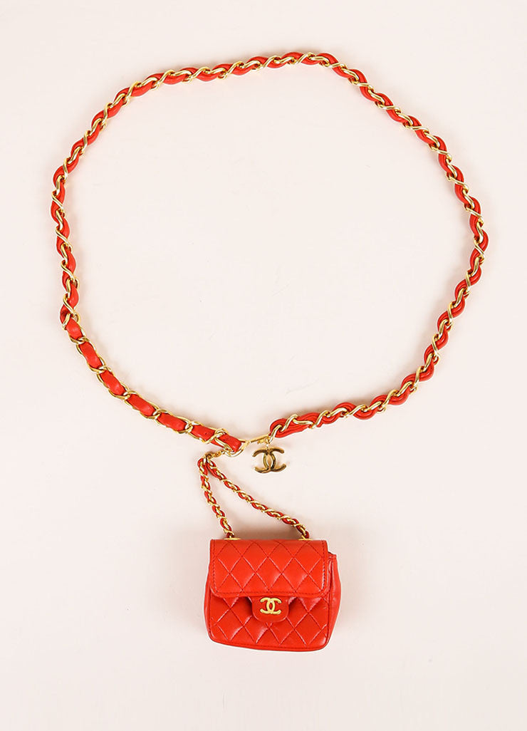 Chanel Red Mini Lambskin Flap Bag Belt Topview