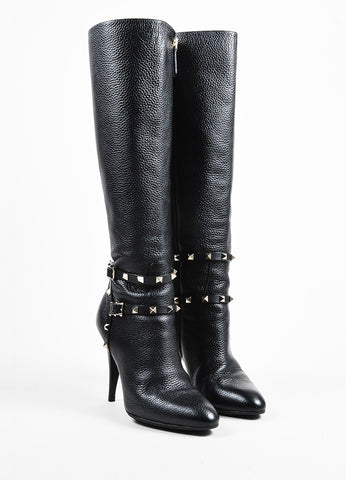 "Valentino Garavani Black Leather Knee High Stiletto ""Rockstud"" Boots Frontview"