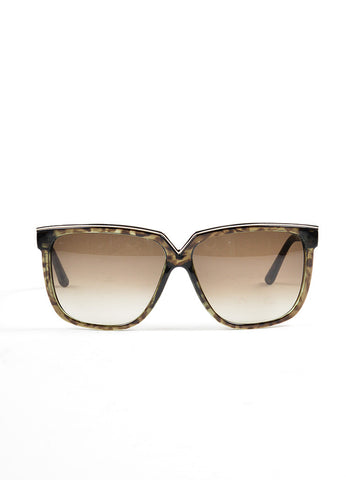 "Green, Brown, and Silver Toned Valentino Squared Oversized ""V05S"" Sunglasses Frontview"