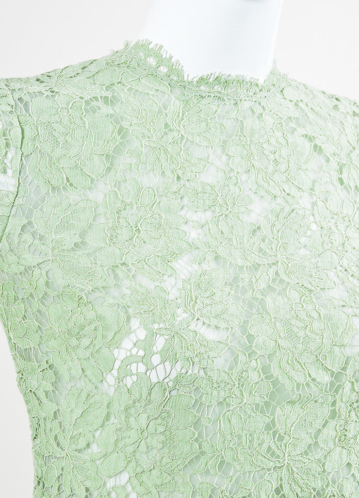 Valentino Mint Green Lace Mid Sleeve A-Line Dress Detail