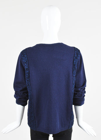 Navy Blue Valentino Wool and Cashmere Lace Panel Sweater Backview