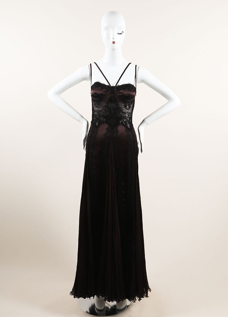 Versace Brown and Black Silk Lace Pleated Sleeveless Gown Frontview