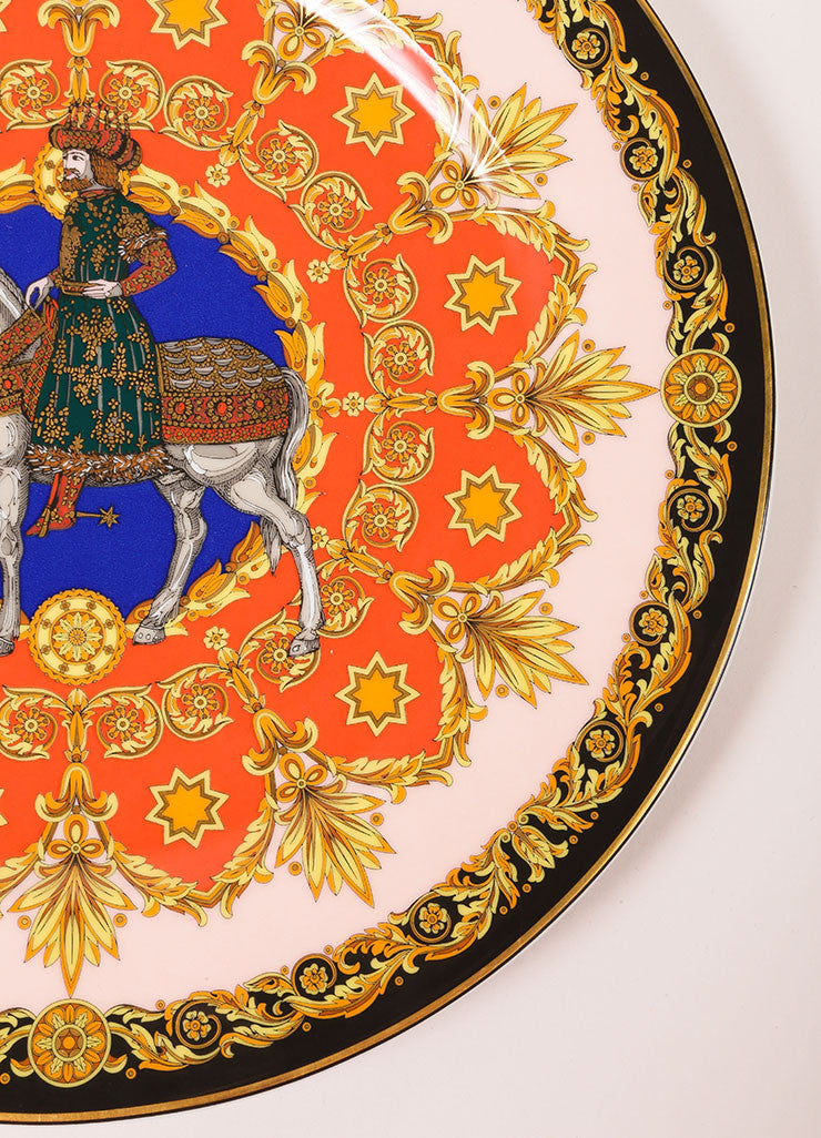 "Versace Rosenthal Coral and Yellow ""Le Roi Balthazar 1996"" 12 inch Service Plate Detail"