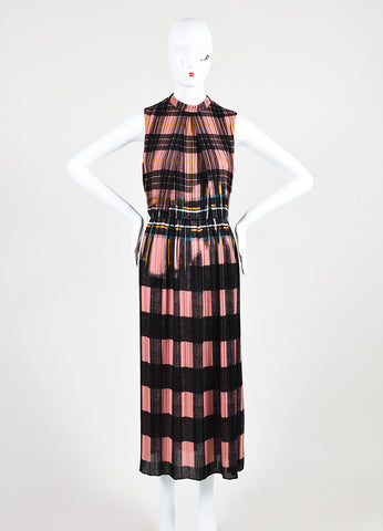 Victoria Victoria Beckham Pink and Black Plaid Pleated Dress Frontview