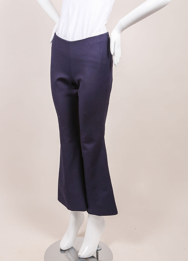 Wes Gordon New With Tags Navy Cropped Flare Pants Sideview