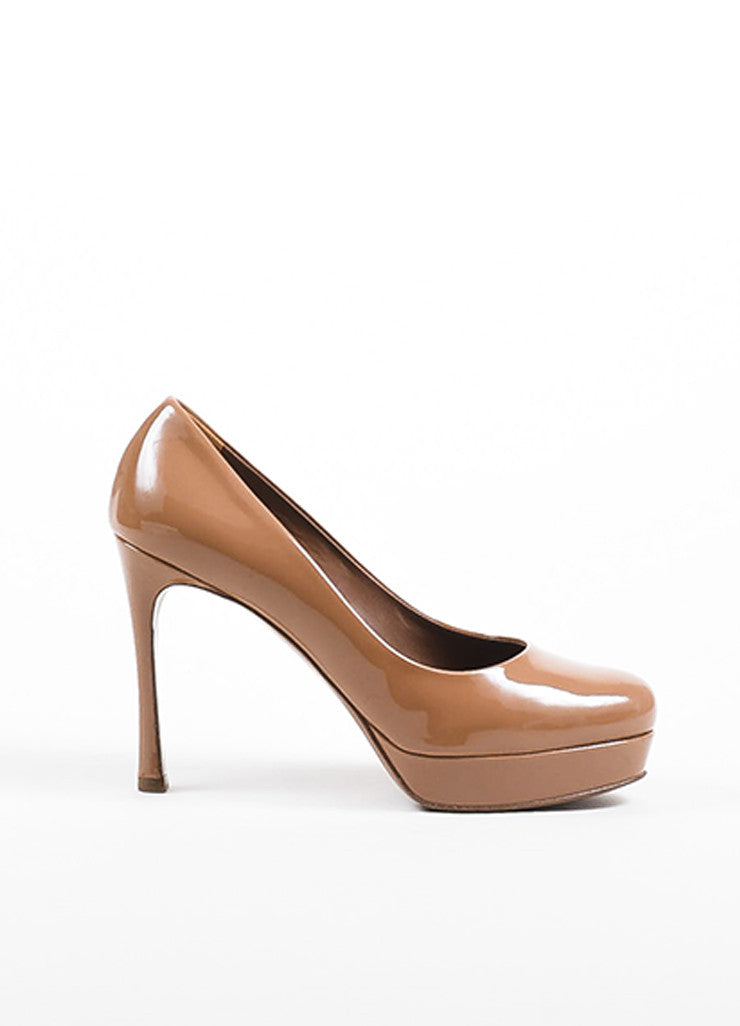 "Yves Saint Laurent Caramel Nude Patent Leather ""Gisele 80"" Pumps Sideview"