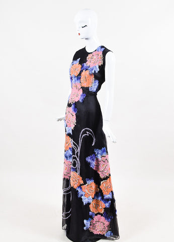 "Roksanda ""Eliza"" Black Silk Organza Embroidered Pom Pom Sleeveless Gown Sideview"