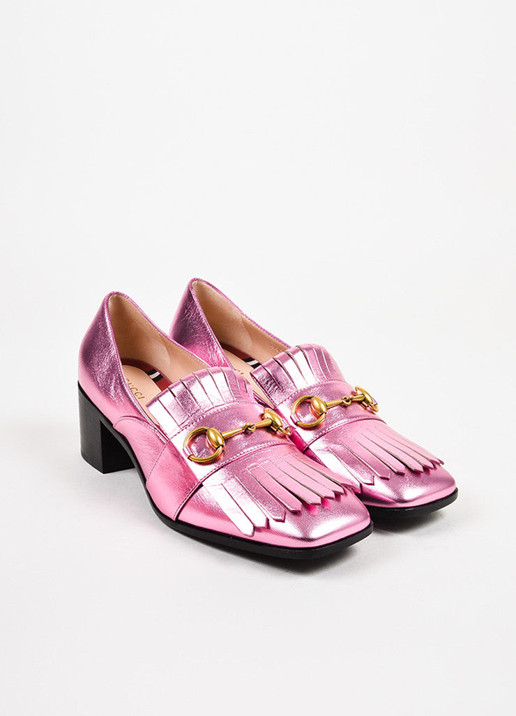 Gucci Metallic Pink Leather Horsebit Fringe Mid Heel Loafers Frontview