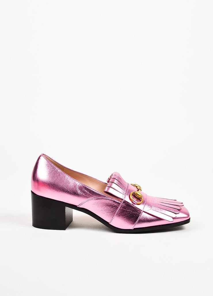 Gucci Metallic Pink Leather Horsebit Fringe Mid Heel Loafers Sideview