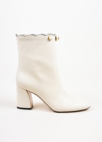 "Gucci White Leather Pearl Scallop ""Willow"" Ankle Booties Sideview"