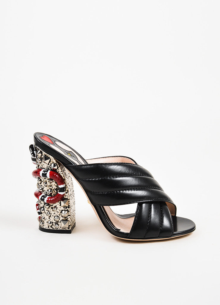 "Gucci Black and Red Leather Snake Embellished ""Webby"" Mule Sandals Siddeview"