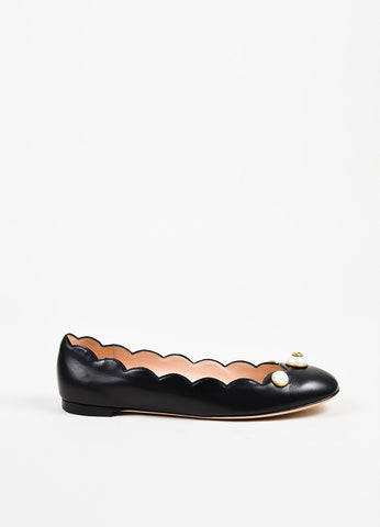 "Gucci Black Leather 'GG' Faux Pearl ""Willow"" Ballet Flats Sideview"