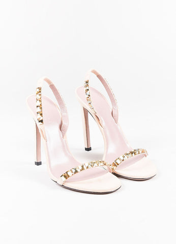 Gucci Nude Metallic Gold Suede Crystal Open Toe Slingback Sandals Frontview