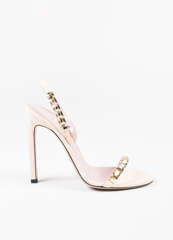 Gucci Nude Metallic Gold Suede Crystal Open Toe Slingback Sandals Sideview