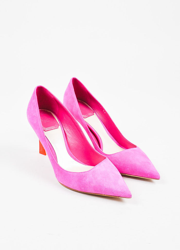 "Christian Dior Fuchsia Pink Suede Ombre Lucite Heel ""Songe"" Pumps Frontview"