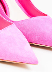 "Christian Dior Fuchsia Pink Suede Ombre Lucite Heel ""Songe"" Pumps Detail"