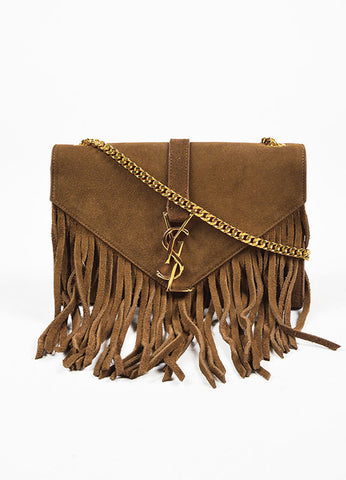 "Yves Saint Laurent Brown ""Light Ocre"" Suede ""Monogram"" Bag Frontview"