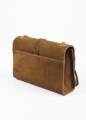 "Yves Saint Laurent Brown ""Light Ocre"" Suede ""Monogram"" Bag Sideview"