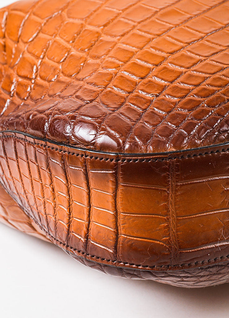 "Gucci Limited Edition Brown Genuine Crocodile ""Jackie"" Shoulder Bag Detail"