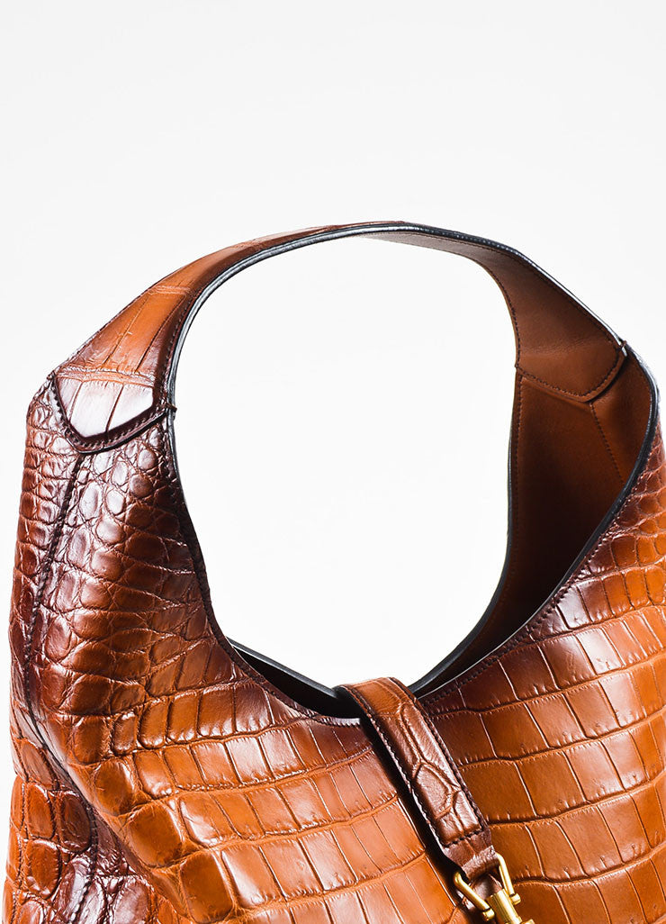 "Gucci Limited Edition Brown Genuine Crocodile ""Jackie"" Shoulder Bag Detail 2"