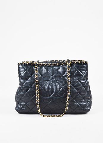 "Chanel Black Quilted Lambskin Leather Gold Tone Metal ""Chain Me' Shopping Tote Frontview"