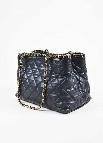 "Chanel Black Quilted Lambskin Leather Gold Tone Metal ""Chain Me' Shopping Tote Sideview"
