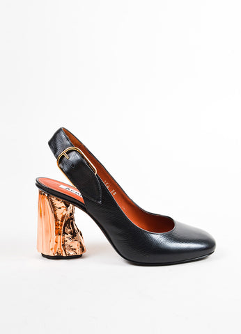 "Black Acne Studios Leather Copper Metallic ""Odelia"" Slingback Pumps Side"