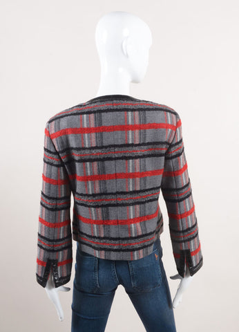 Akris Punto New With Tags Grey, Red, and Black Plaid Wool Zip Crop Sleeve Jacket Backview