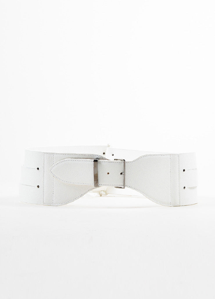 Alaia White Grain Leather Triple Strap Tie Detail Waist Belt Frontview