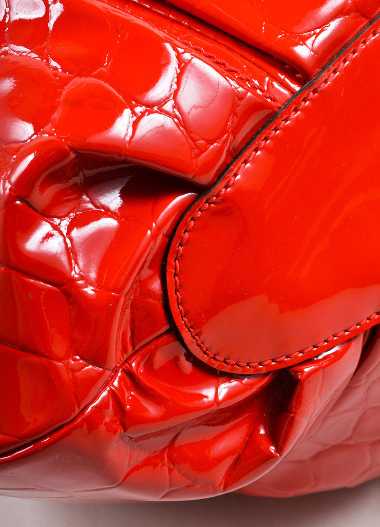 "Alexander McQueen Red Patent Leather ""Elvie"" Frame Handle Bag Detail"