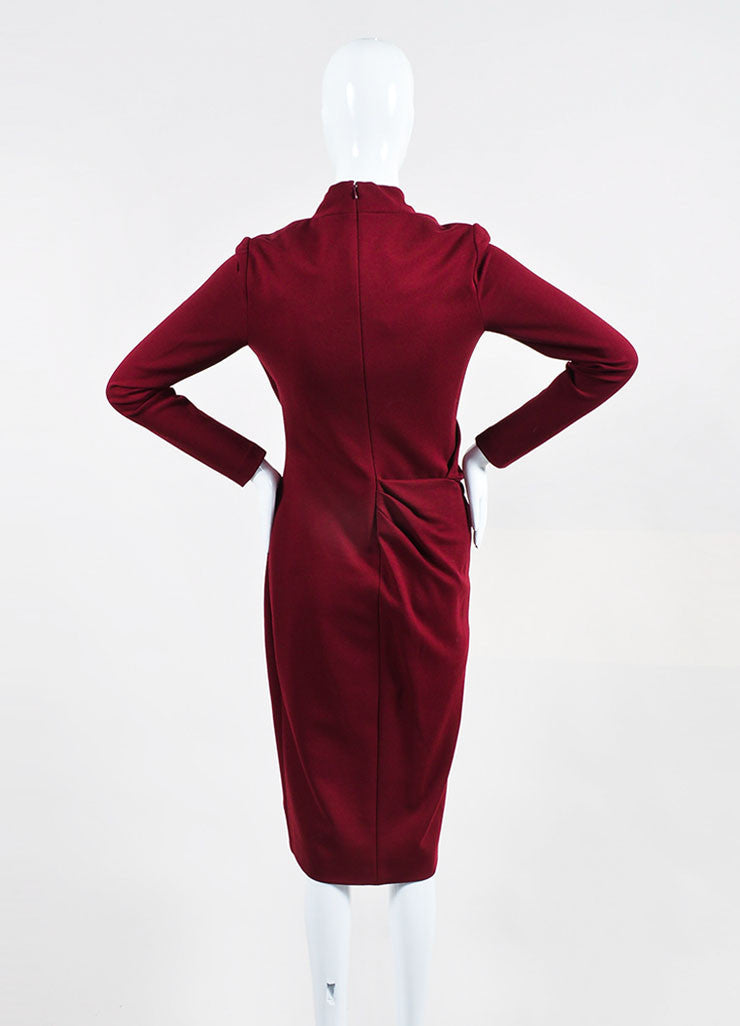 Maroon Alexander McQueen Jersey Knit Pleated V Neck Wrap Dress Backview