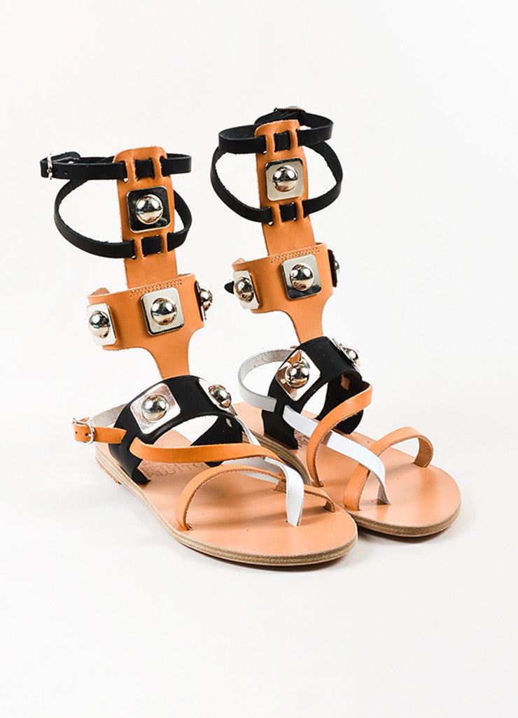 Tan Black Ancient Greek Sandals x Peter Pilotto Gladiator Sandals Front