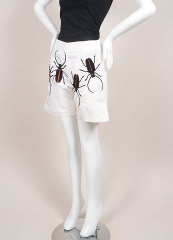 Azede Jean-Pierre New With Tags Cream Beetle Embroidered Silk Shorts Sideview