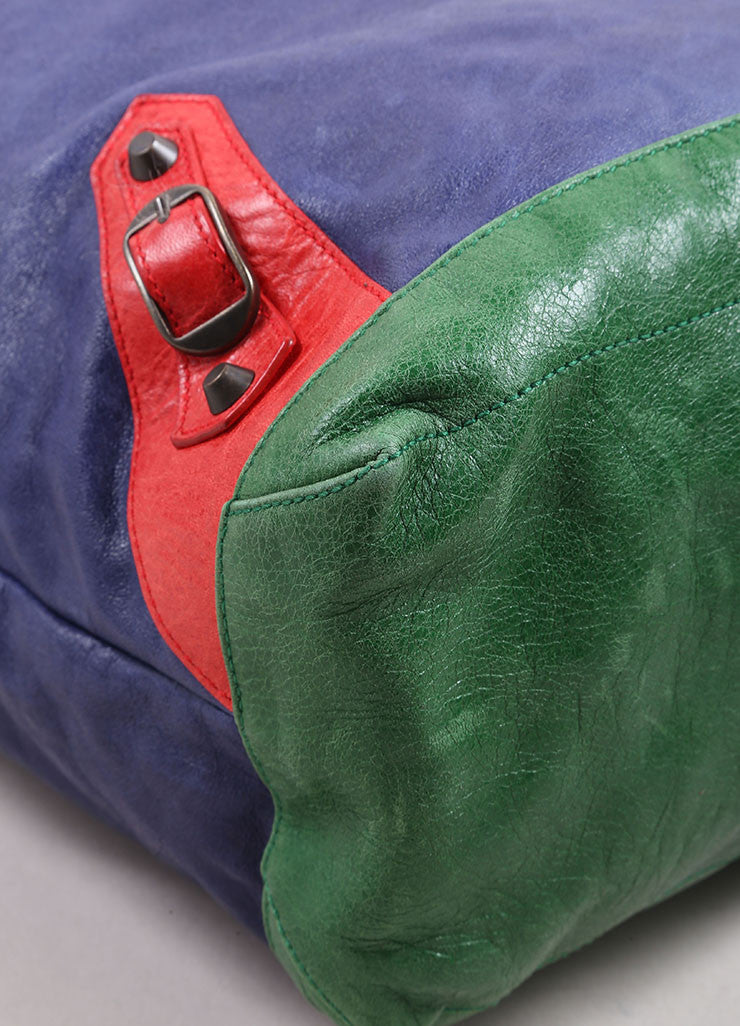"Balenciaga Blue, Green, and Red Leather ""Motocross Tri Color Day Bag"" Bucket Tote Bag Detail"